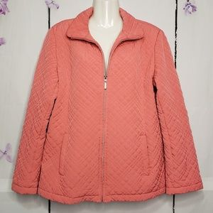 Gallery Coral Quilted Lined Lightweight Jacket L